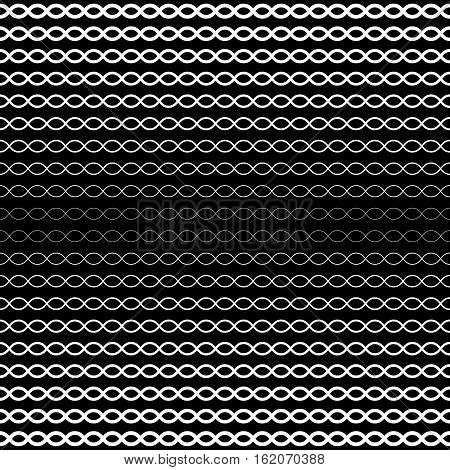 Vector seamless pattern, horizontal wavy lines. Simple illustration of DNA chain. Dark monochrome background, halftone transition effect. Black & white repeat texture. Design for prints, digital, web