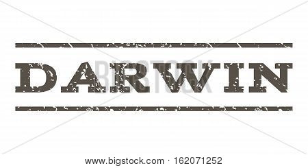 Darwin watermark stamp. Text tag between horizontal parallel lines with grunge design style. Rubber seal stamp with unclean texture. Vector grey color ink imprint on a white background.