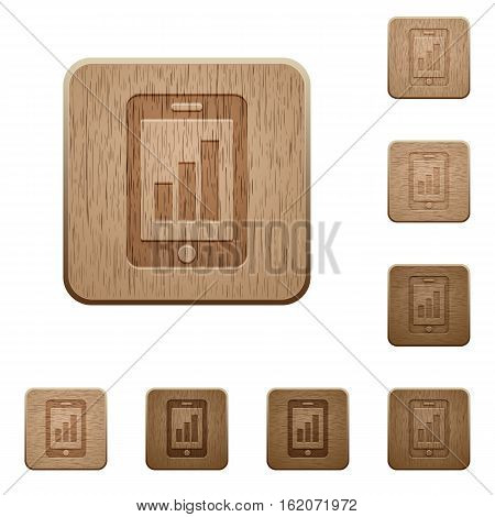 Smartphone signal strength icons on carved wooden button styles