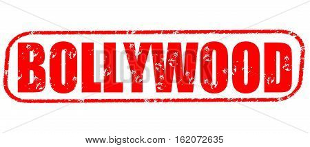 Bollywood on the white background, red illustration