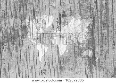 Wood Texture Surface With World Map