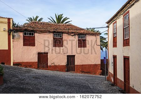 Dead-end street of a village on the coast of La Palma, Canary Islands, Spain