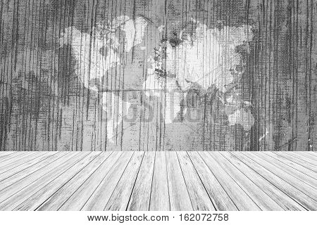 Wood Texture Surface With Wood Terrace And World Map