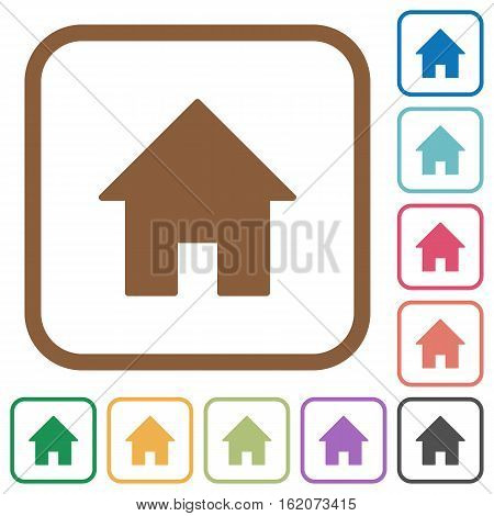Home simple icons in color rounded square frames on white background