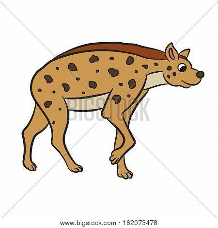 Illustration of cartoon hyena standing. Vector illustration