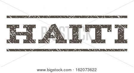 Haiti watermark stamp. Text caption between horizontal parallel lines with grunge design style. Rubber seal stamp with dirty texture. Vector grey color ink imprint on a white background.