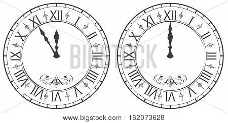 Clock with Roman numerals. New Year midnight 12. Isolated on white vector illustration