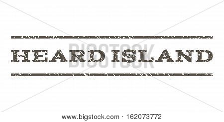 Heard Island watermark stamp. Text tag between horizontal parallel lines with grunge design style. Rubber seal stamp with unclean texture. Vector grey color ink imprint on a white background.