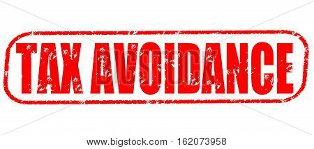 Tax avoidance on the white background, red illustration