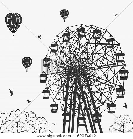 Ferris wheel at an amusement park vector illustration