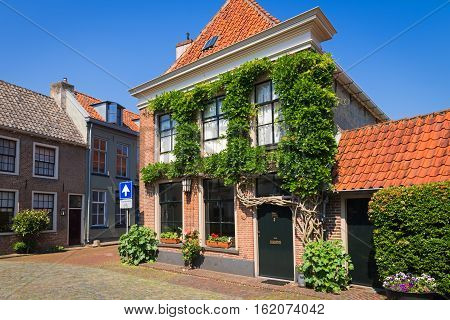 Two-storey  houses on the street of the old city of Duisburg, the Netherlands
