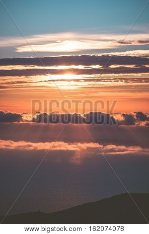Sunset Sky over clouds Landscape Travel serene scenic view flying beautiful natural colors