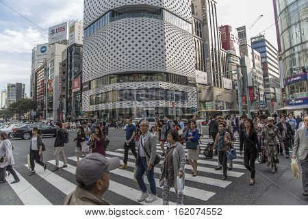 TOKYO, JAPAN - OCTOBER 12, 2016: Unidentified people on the street in Shibuya Tokyo. Shibuya is one of fashion centers for young people and as a major nightlife area