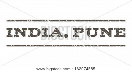 India, Pune watermark stamp. Text caption between horizontal parallel lines with grunge design style. Rubber seal stamp with scratched texture. Vector grey color ink imprint on a white background.