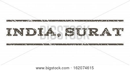 India, Surat watermark stamp. Text tag between horizontal parallel lines with grunge design style. Rubber seal stamp with unclean texture. Vector grey color ink imprint on a white background.