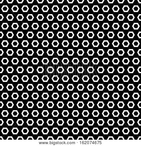 Vector monochrome seamless pattern simple, geometric texture with linear hexagonal shapes, black & white. Repeat abstract background. Design element for identity, prints, digital, wrapping, textile