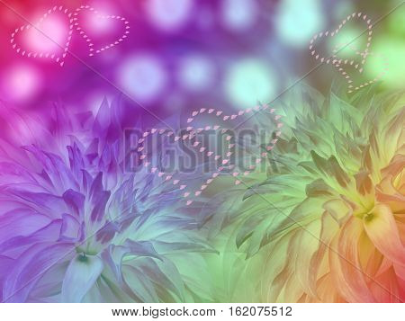 dahlias flowers on iridescent blurred background. Bright floral composition. card for the holiday. Loving heart.