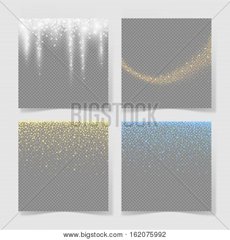set of abstract texture with gold neon glitter particles effect on transparent background for luxury greeting rich card, poster, banner, sparkle sequin tinsel yellow bling, vector illustration eps10