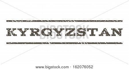 Kyrgyzstan watermark stamp. Text caption between horizontal parallel lines with grunge design style. Rubber seal stamp with unclean texture. Vector grey color ink imprint on a white background.
