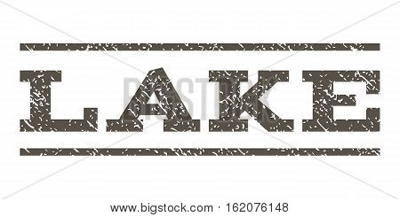 Lake watermark stamp. Text caption between horizontal parallel lines with grunge design style. Rubber seal stamp with dust texture. Vector grey color ink imprint on a white background.