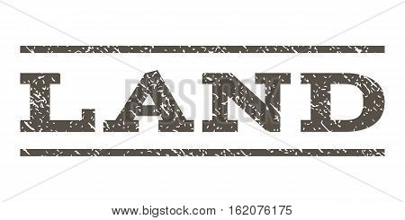 Land watermark stamp. Text tag between horizontal parallel lines with grunge design style. Rubber seal stamp with dirty texture. Vector grey color ink imprint on a white background.