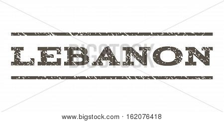 Lebanon watermark stamp. Text caption between horizontal parallel lines with grunge design style. Rubber seal stamp with dust texture. Vector grey color ink imprint on a white background.
