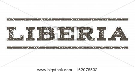 Liberia watermark stamp. Text tag between horizontal parallel lines with grunge design style. Rubber seal stamp with dust texture. Vector grey color ink imprint on a white background.