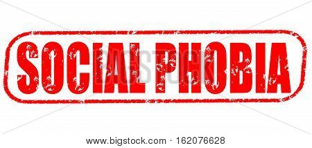 Social phobia on the white background, red illustration