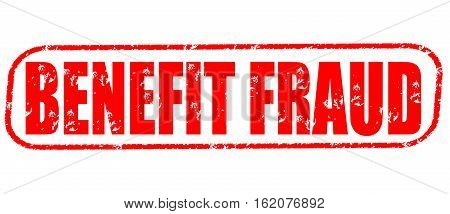 Benefit fraud on the white background, red illustration