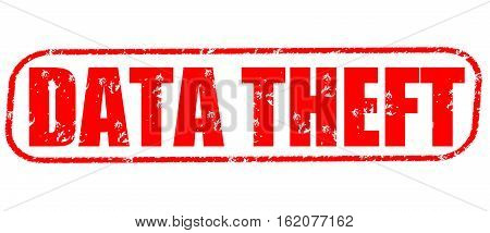 Data theft on the white background, red illustration