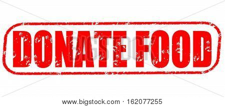 Donate food on the white background, red illustration