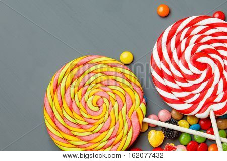 Colorful Lollipops, Candy Canes And Sweet Candies Mix