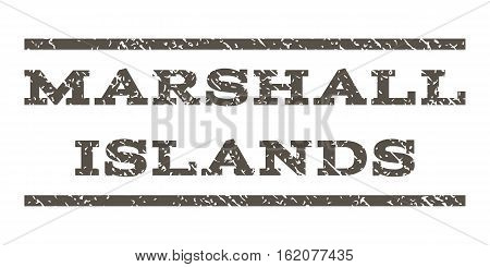 Marshall Islands watermark stamp. Text caption between horizontal parallel lines with grunge design style. Rubber seal stamp with dust texture. Vector grey color ink imprint on a white background.