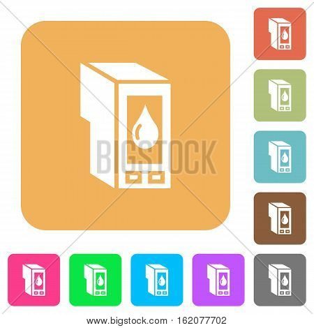 Ink cartridge icons on rounded square vivid color backgrounds.