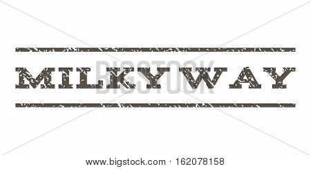 Milky Way watermark stamp. Text tag between horizontal parallel lines with grunge design style. Rubber seal stamp with dirty texture. Vector grey color ink imprint on a white background.