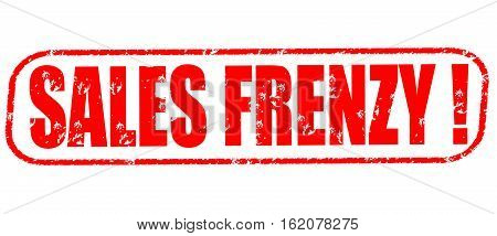 Sales frenzy on the white background, red illustration