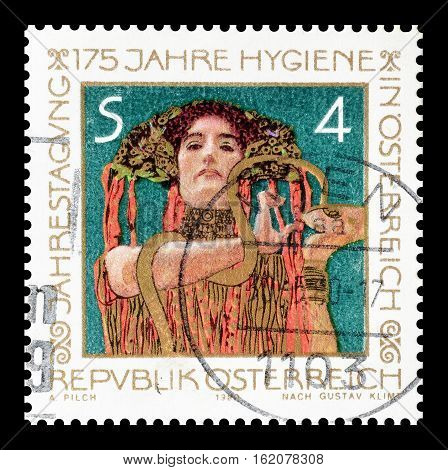AUSTRIA - CIRCA 1980 : Cancelled postage stamp printed by Austria, that shows painting by Gustav Klimt.