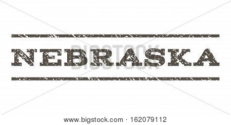 Nebraska watermark stamp. Text tag between horizontal parallel lines with grunge design style. Rubber seal stamp with dust texture. Vector grey color ink imprint on a white background.