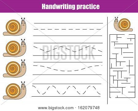 Handwriting practice sheet. Educational children game, activity. Writing training, animals theme. Printable worksheet for kids
