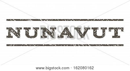 Nunavut watermark stamp. Text caption between horizontal parallel lines with grunge design style. Rubber seal stamp with dust texture. Vector grey color ink imprint on a white background.
