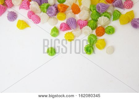 Aalaw or Alua, Thai traditional candy sweet dessert-white background.