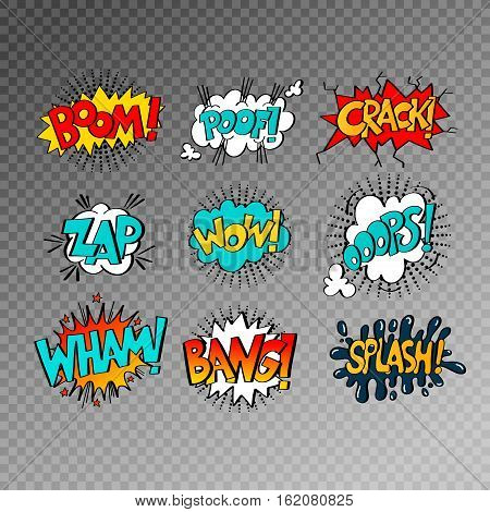 collection of nine multicolored comic sound effects in pop art style, bubble speech with word set, vector illustration eps10