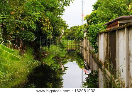 canal with the reflection on water .