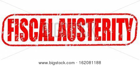 Fiscal austerity on the white background, red illustration