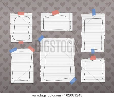 Ripped white ruled notebook, note, copybook paper sheets with doodle frames, stuck on pattern created of heart shapes.