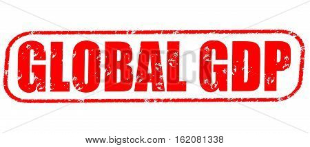 Global GDP on the white background, red illustration