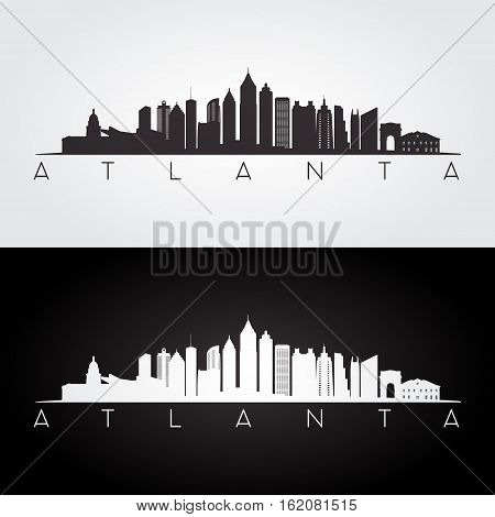 Atlanta USA skyline and landmarks silhouette black and white design vector illustration.