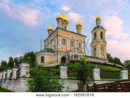 Resurrection Church at sunset in town Ples Russia