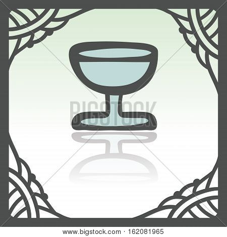 Vector outline wine glass goblet icon in hand drawn frame. Elements for mobile concepts and web apps. Modern infographic logo and pictogram.