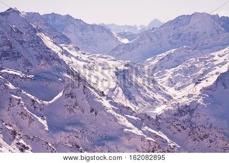Winter panorama in Alps white snow sky